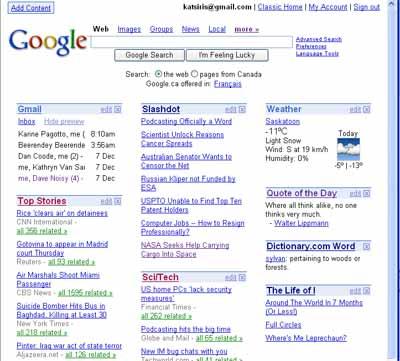My Google Startpage